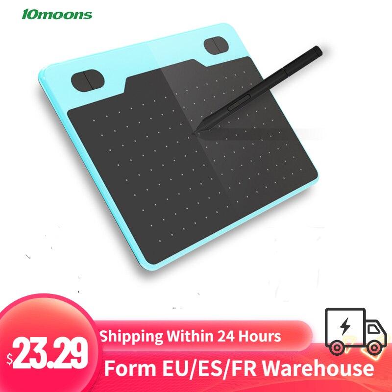 [해외] 10moons-6 인치 T503 디지털 드로잉 태블릿, 그래픽 드로잉 타블렛 초경량 8192 레벨 배터리프리 펜