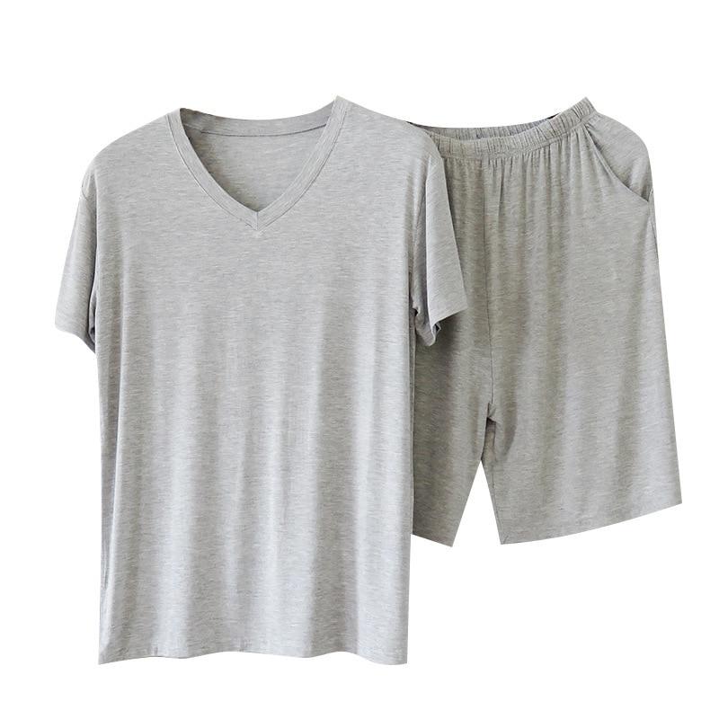 Conjunto de pijama para hombre de talla grande 5XL 6XL, camiseta de manga corta + Pantalones cortos, ropa de dormir, conjunto de 2 uds, ropa de verano Modal para hombre Y5036