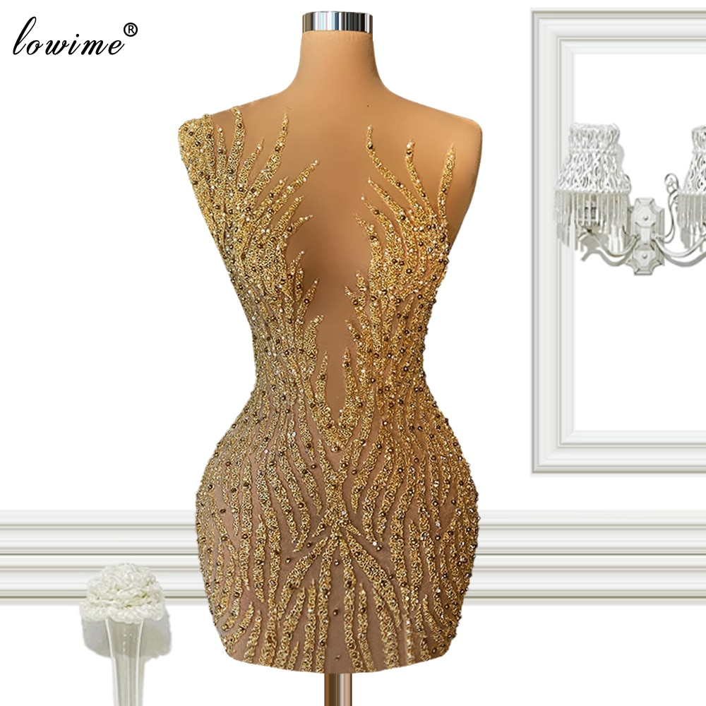 Gold Short Cocktail Dresses Fully Handmade Prom Party Dresses Beads Sleeveless Sexy Eveng Gowns Phot