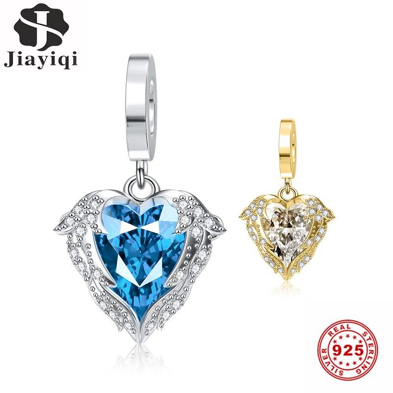Alas de plata Jiayiqi, amuletos de corazón de océano, cuentas de plata de ley 925 CZ para mujeres, abalorios Pandora, joyería 925 Original DIY