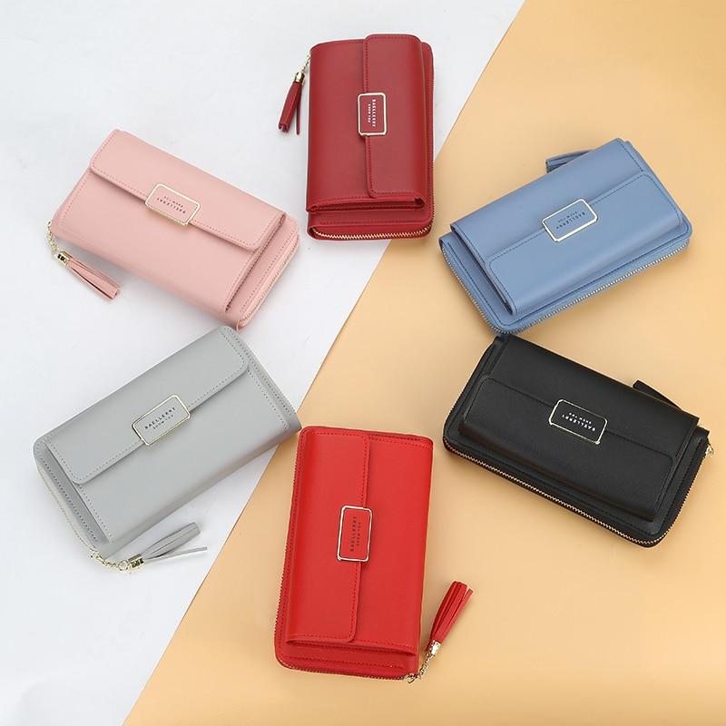 Baellerry новые женские сумки на плечо, Длинные кошельки на молнии с кисточками, многофункциональные кошельки с пряжкой, мобильный телефон, квад...