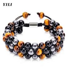 8mm Tiger Eye Stone Bracelet Men Women Natural Energy Stone Essential Oil Black Onyx Hematite Beads