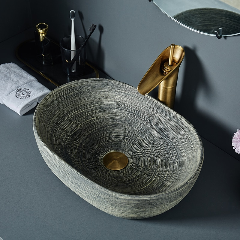 Художественная керамическая труба над прилавком раковина Ретро умывальник для дома одиночный Умывальник Ванная комната американский стил...