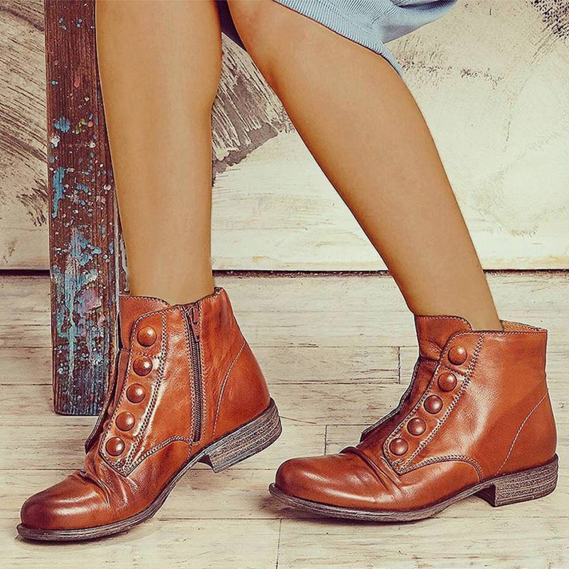2021 New Women Ankle Boots Low Heels Zipper Women Retro Short Boots Pu Leather Fashion Ladies Footwear Plus Size Shoes 35-43
