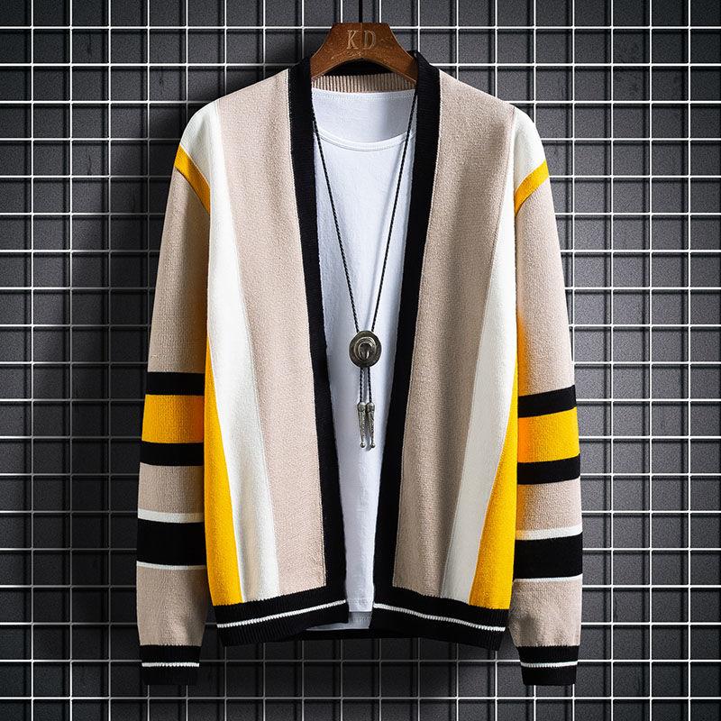Cárdigan de punto para Hombre, cárdigan Masculino, jersey de empalme con contraste,...