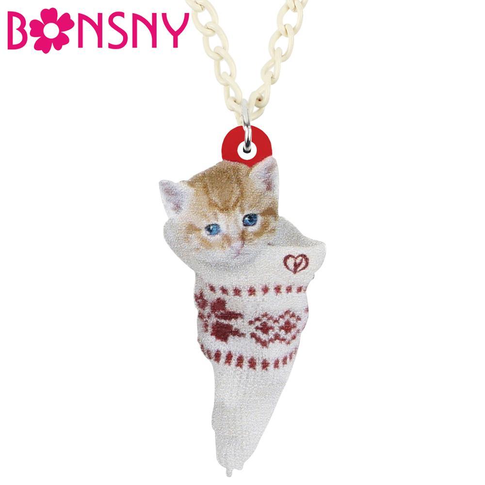 Bonsny Acrylic Christmas Sock Short Hair Cat Kitten Necklace Pendant Chain Choker Animal Jewelry For Women Girls Teens Kids Gift