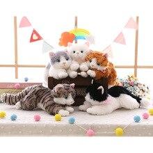 Yeni sevimli peluş kedi beyaz siyah yumuşak dolması peluş oyuncak hayvan hediye çocuk boy kız oyuncak hediye 35-40cm