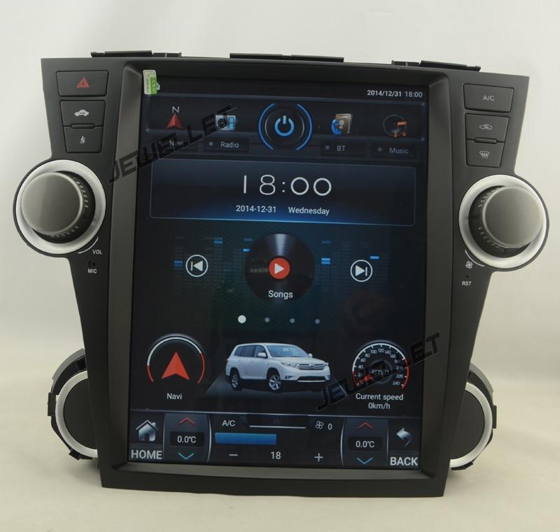 "12,1 ""estilo tesla de pantalla vertical Octa core Android 8,1 coche estéreo reproductor multimedia para Toyota Highlander Kluger 2008-2013"