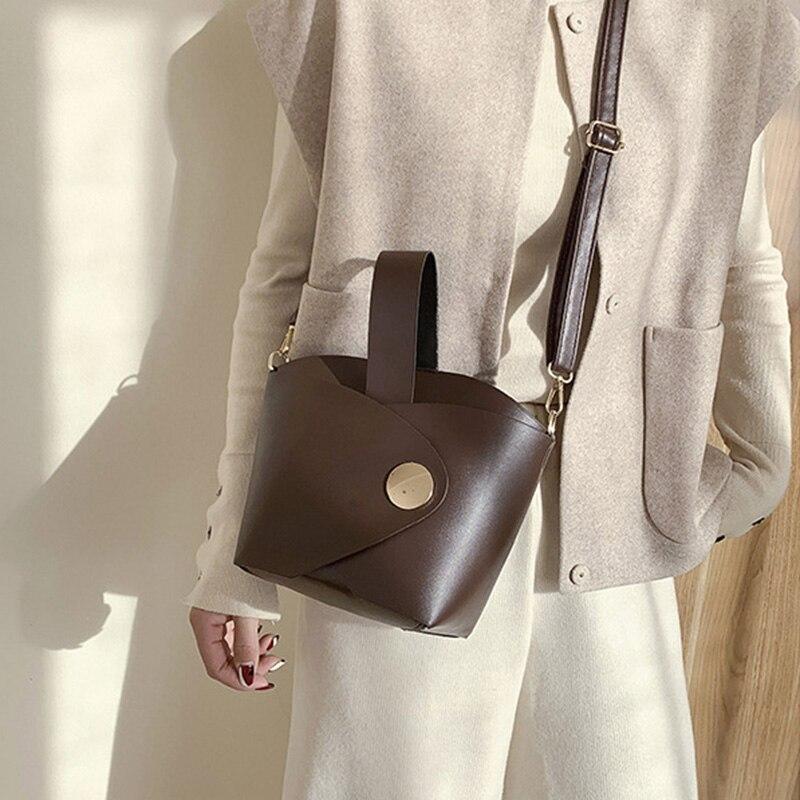 Ansloth mini balde saco de luxo bolsa feminina bloqueio bolsa de ombro saco das senhoras alta qualidade couro do plutônio sacos crossbody feminino hps871