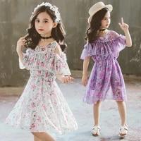 summer kids dresses for girls print flower 2020 girls dress casual party princess dress chiffon girl costume 4 6 8 10 12 years