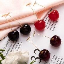 1 par de alta calidad rojo cereza dulce resina gota pendiente lindo simulatiocaliente Color rojo para mujeres Niña estudiante fruta regalo de Navidad