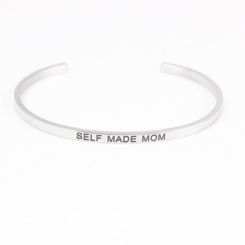스테인레스 스틸 새겨진 BELF 만든 엄마 팔찌 만트라 Bangles 여자 남자 친구 가족 최고의 선물