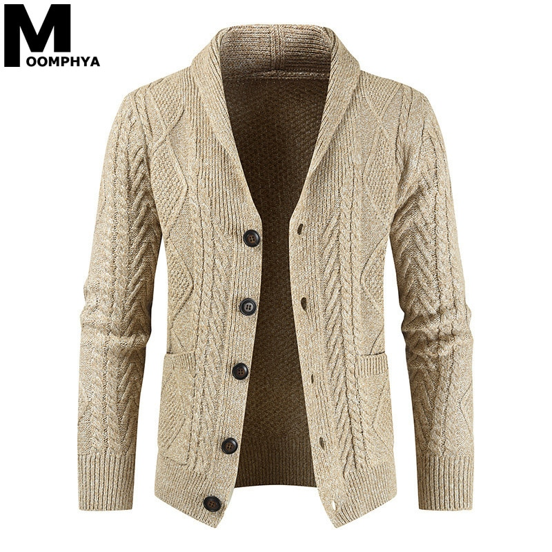 Moomphya, cárdigan tejido de manga larga para hombres, suéter, chaqueta, suéter de Jacquard, abrigo para hombres, suéter de invierno 2019 para hombres