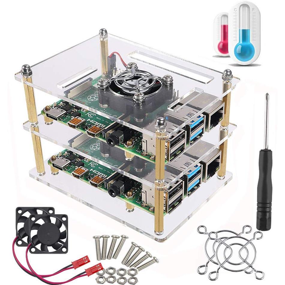 Чехол для Raspberry Pi 4 B, чехол-кластер для Raspberry Pi с охлаждающим вентилятором для детской модели +, Pi 2 Model B,Pi B +