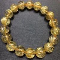 natural gold rutilated quartz clear round beads bracelet 11 5mm women men fashion wealthy stone genuine aaaaaa