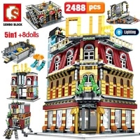 sembo 5 in 1 usb light nightclub house building blocks architecture city street view figures bricks educational toys for kids