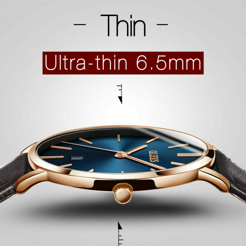 OLEVS Ultra-thin Women Mens Couple Stylish Leather Watch Student Quartz Wristwatches