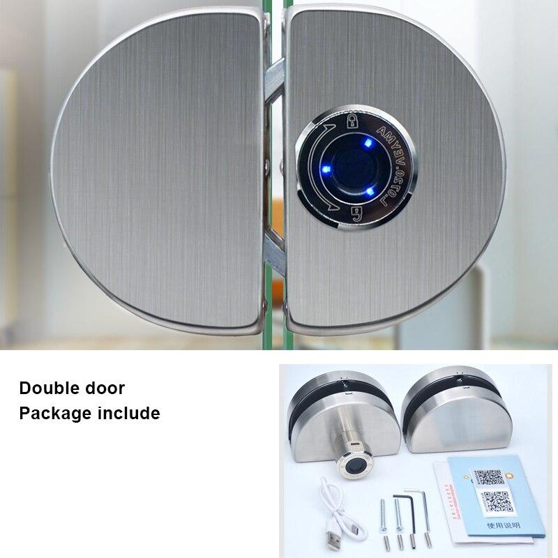 Serrure dempreinte digitale de porte en verre sans cadre porte coulissante plate simple ouverte double porte en verre semi-conducteur serrure dempreinte digitale électronique