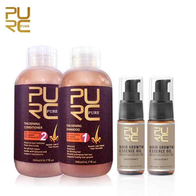 PURC מוצרי צמיחת שיער שמפו מרכך מהות שמן אנטי נשירת שיער מעבה טיפול שיער קרקפת טיפולים סט לנשים גברים