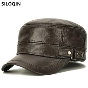 SILOQIN Snapback Cap Natural Cowhide Leather Cap Military Hats Men's Flat Caps New Winter Warm Hat Adjustable Size Men Black Cap