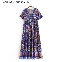 تشو ساو الجمال جديد البوهيمي جميلة الأزهار طباعة فستان ماكسي المرأة عطلة موضة الكشكشة فساتين فضفاضة الإناث Vestido دي مودا
