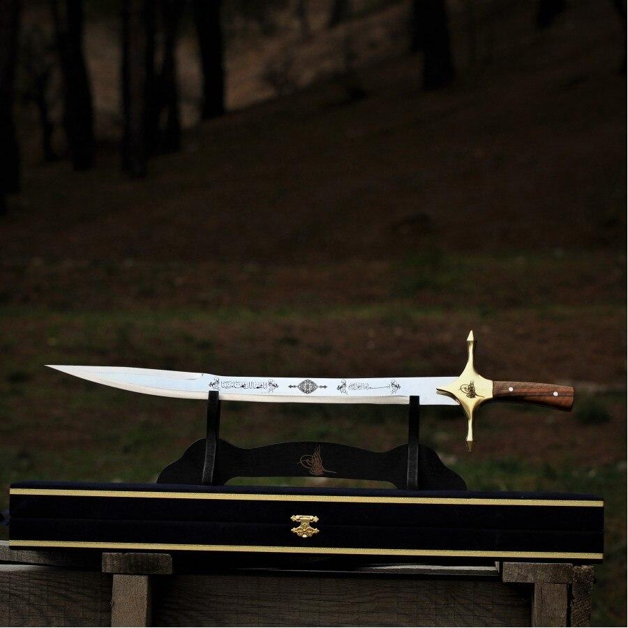 Feito à mão 60 cm história turca otomano da espada katana artesanato bushcraft aço inoxidável 52 - 58 rockwell (hrc) ertuğrul