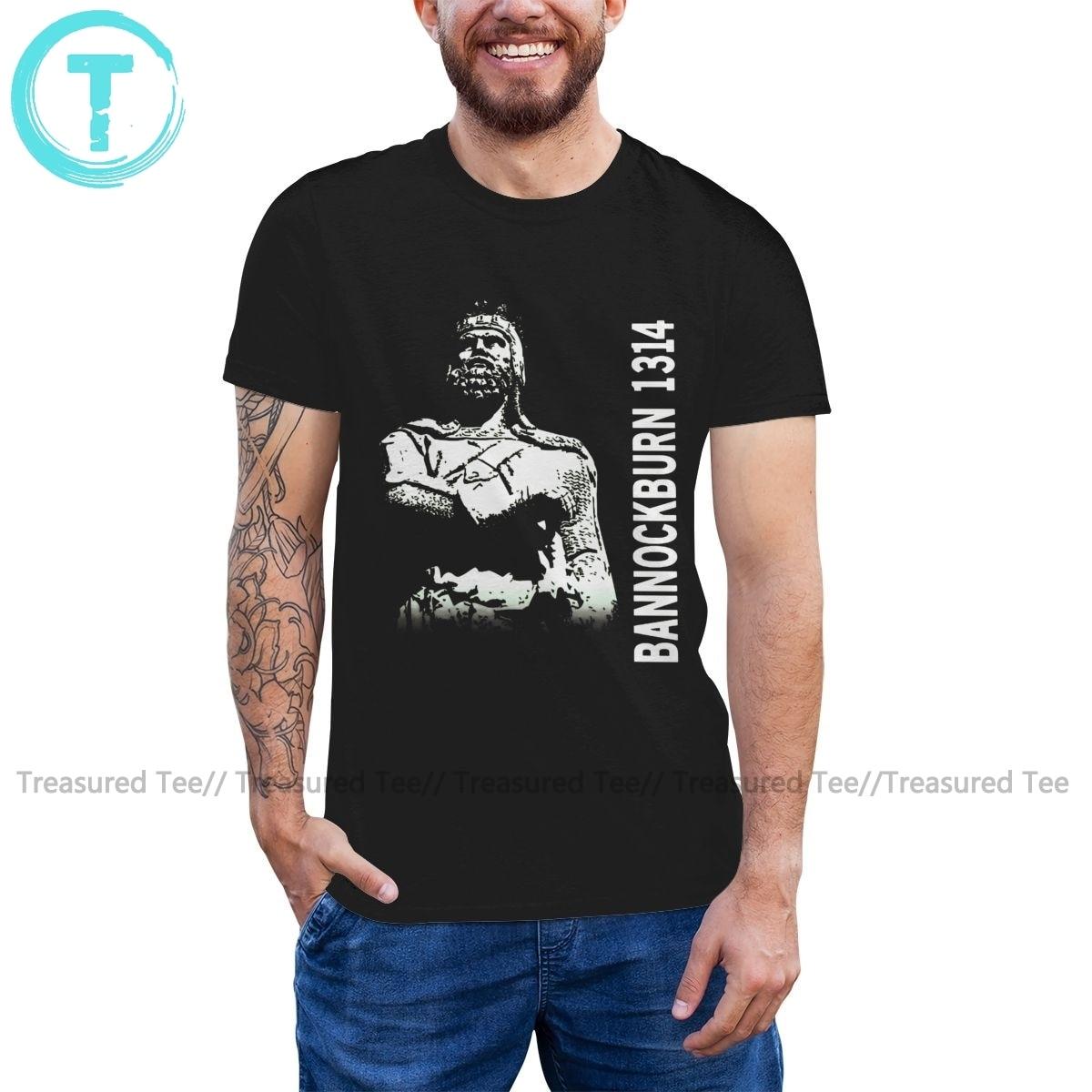 Robert T Camisa Robert The Bruce Bannock Burn T-Shirt Streetwear Tee Impressão Camisa Curto-Luva Homem Tshirt