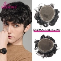 k s wigs men toupee swiss lace pu around men capillary prothesis har replacement system durable natural hair wig for men
