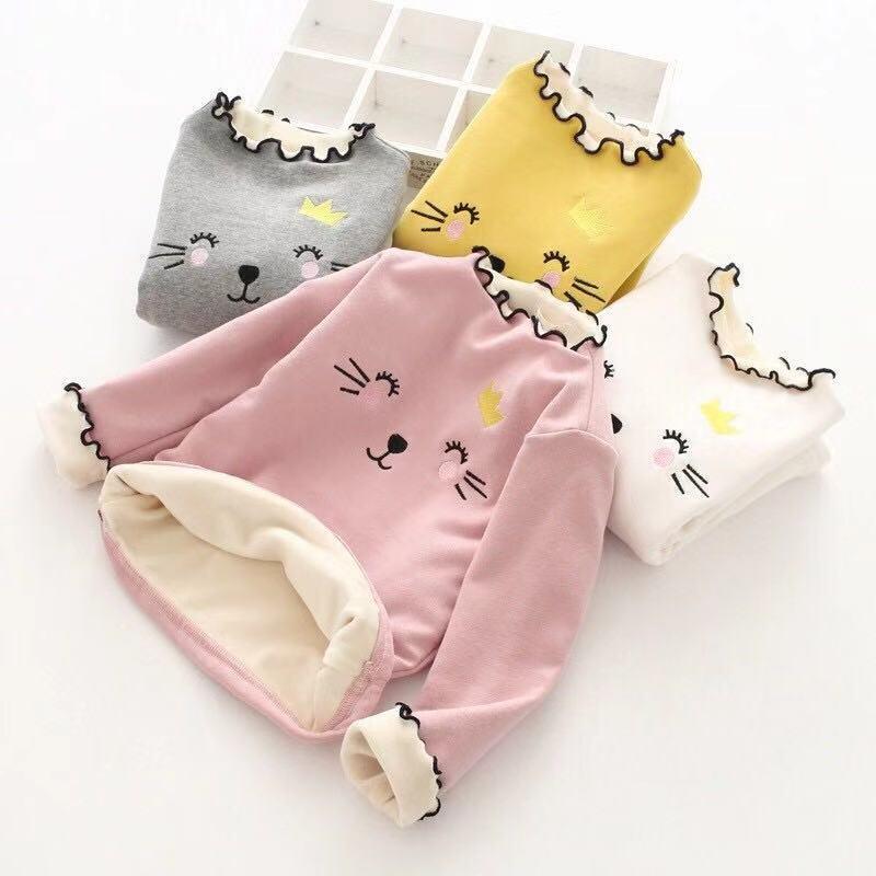 2019 Girls Plus Velvet Bottoming Shirt Children's Autumn Winter Clothes Girl Warm Clothes Fashion Cartoon Long-sleeved T-shirt