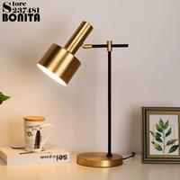 Metal brass table lamps for bedroom Retro minimalist table light copper Angle adjustable desk lamp Vintage