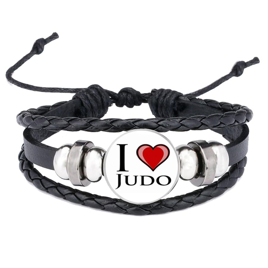 Novelty Fashion Love Judo Karate Bracelets Exquisite Popular Women Men Casual Sports Leather Bracelet Sanp Button Jewelry