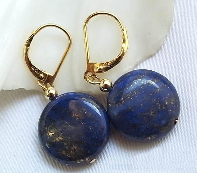 Perlas únicas tienda de joyería naturaleza 14mm lapislázuli moneda cuenta cuelga pendientes encantadores mujeres regalo joyería envío rápido