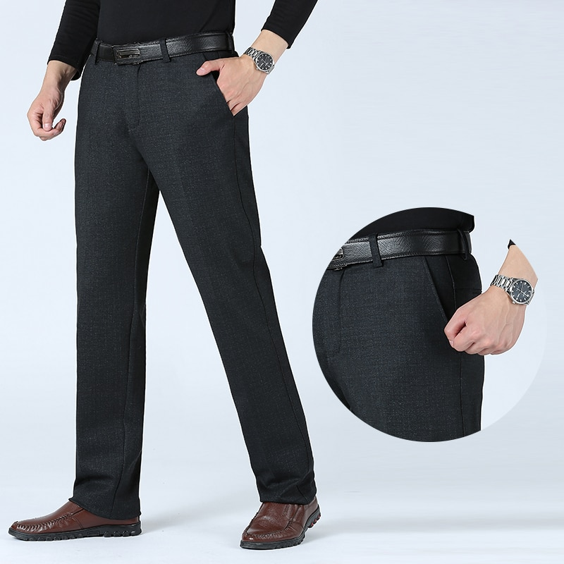 2020 New Men's Slim Casual Pants Fashion Business Dress Pants Stretch Thicken Trousers Man Brand Solid Pant Black Navy Big Size