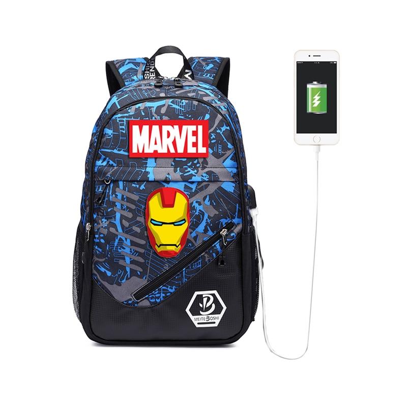 Рюкзак MARVEL с USB-зарядкой для подростков, светящийся вместительный Водонепроницаемый ранец для книг, уличный дорожный школьный ранец с принт...