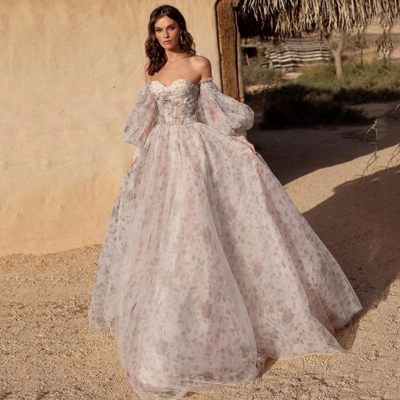 فساتين زفاف Eightree فساتين زفاف وردي مغبر أكمام طويلة فستان عروس 2021 الحبيب بالإضافة إلى حجم خمر طباعة الأزهار فساتين الزفاف