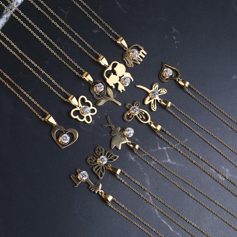Модные роскошные золотые ожерелья из нержавеющей стали 316l, женские искусственные драгоценные камни, цепочка в виде сердца, ювелирные изделия, аксессуары, подарок для пар