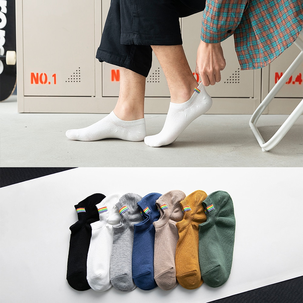 Summer And Spring Cotton Socks Colorful Fashion Men's Boat Socks Shallow Sweat-absorbent Ankle Rainbow Socks 7Pairs/ Lot
