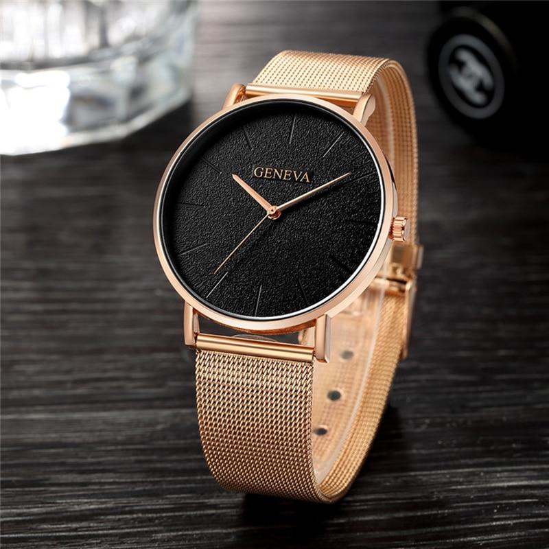 Relojes de Mujer 2019 de lujo de oro rosa para Mujer Reloj de pulsera de moda para Mujer Reloj Simple para Mujer Reloj femenino