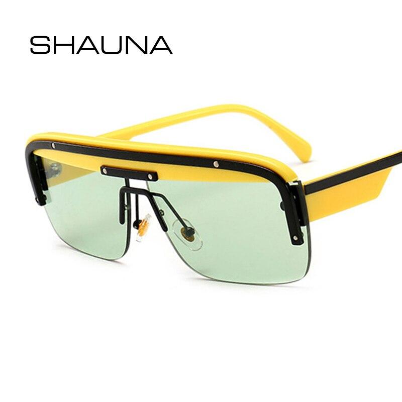 Shauna 2019 nova chegada moda meia moldura óculos de sol feminino ins popular claro verde azul óculos de sol máscaras