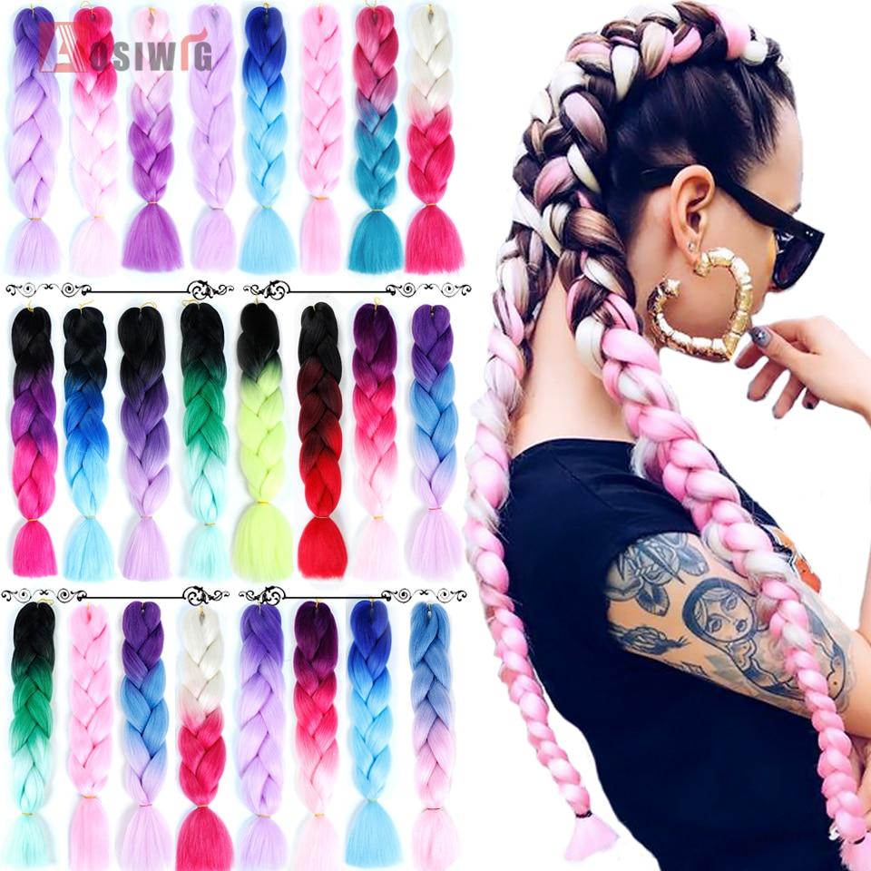 "AOSIWIG 24 ""100g/paquete sintético pelo trenzado Ombre Crochet peinado con trenzas extensiones de cabello púrpura, rosa, negro"
