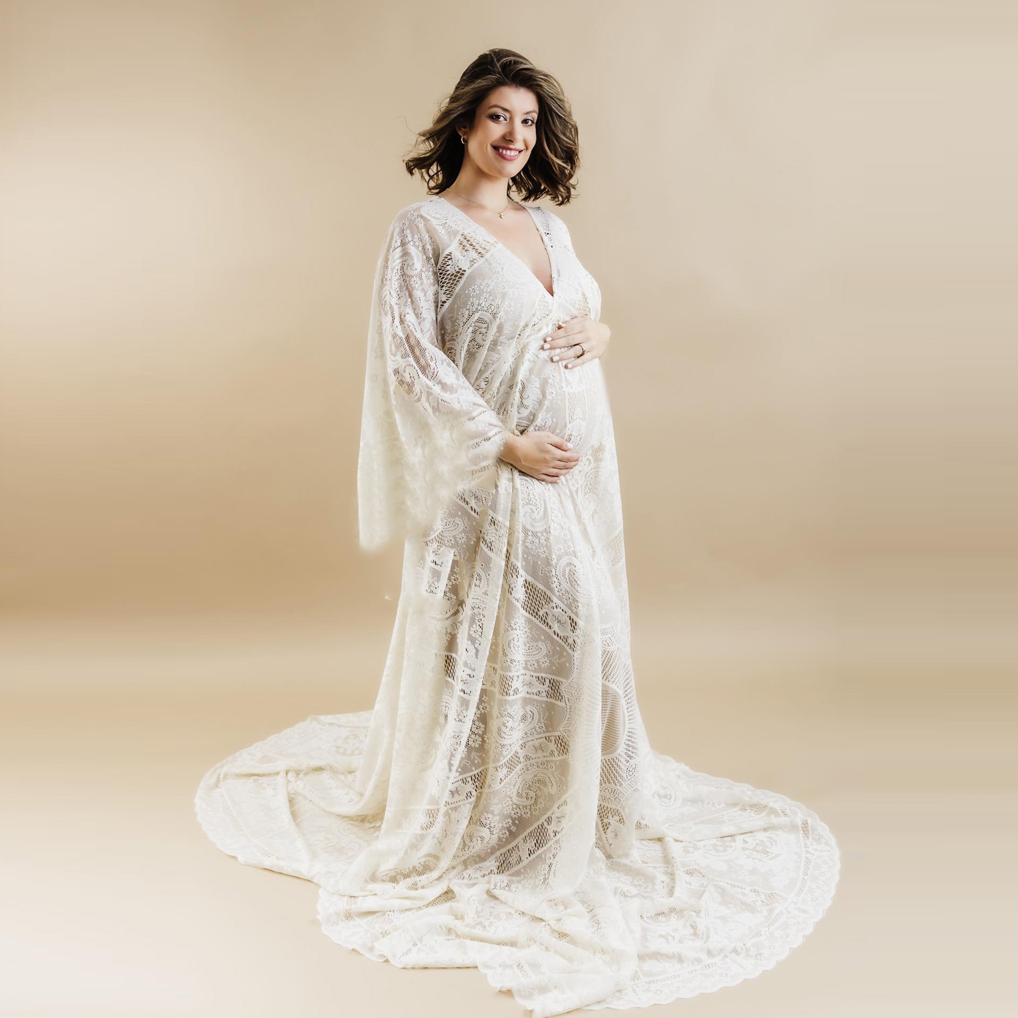 Don&Judy Boho Women Maxi Floral Gown Dress Loose Embroidery Lace Long Beach Dress Maternity Photography Props 2021