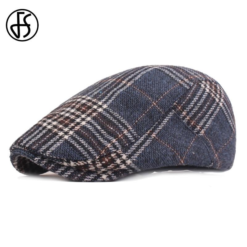 FS Marke Retro Britischen Plaid Baskenmütze Männer Frauen Hohe Qualität Casual Baumwolle Einstellbar Blau Khaki Grau Peaky Scheuklappen Hut Flache kappe