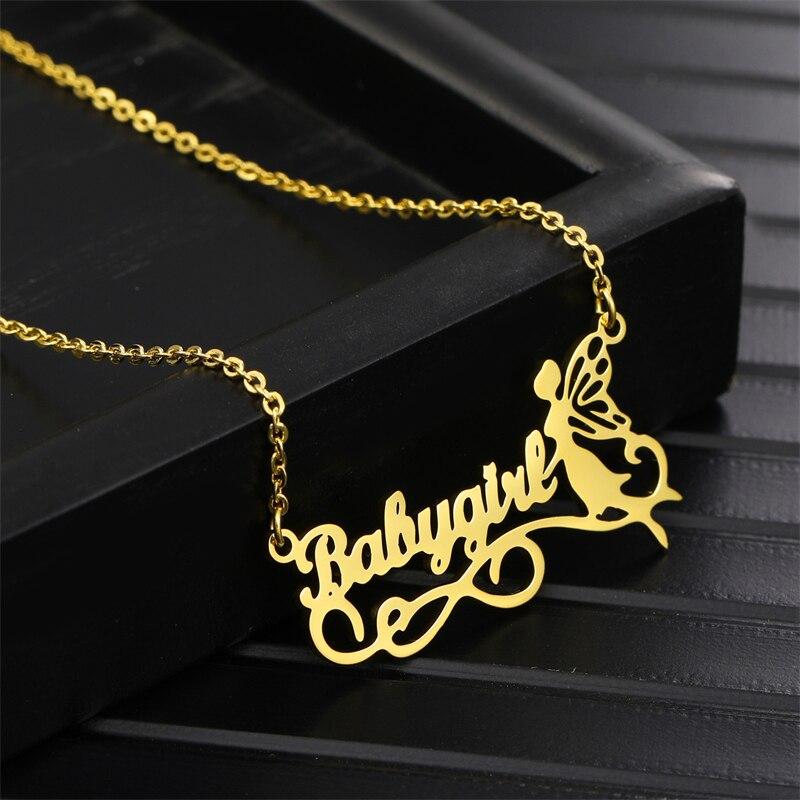 Индивидуальные ожерелья с эльфом, заказное имя, Бабочка, Фея, кулон, маленький ангел, ожерелье для женщин, ювелирная цепочка из нержавеющей с...