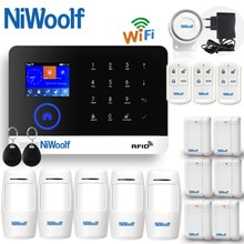 2019 APP WIFI + GSM ev hırsız alarmı sistemi dokunmatik klavye İngilizce rusça İspanyolca alman lehçe İtalyan fransızca portekizce