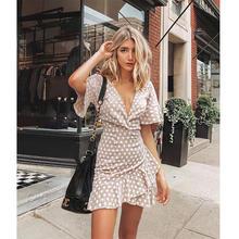 Ladies Polka Dot Printing Short Sleeve Beige V-Neck Flounced Ruffle Casual Dress