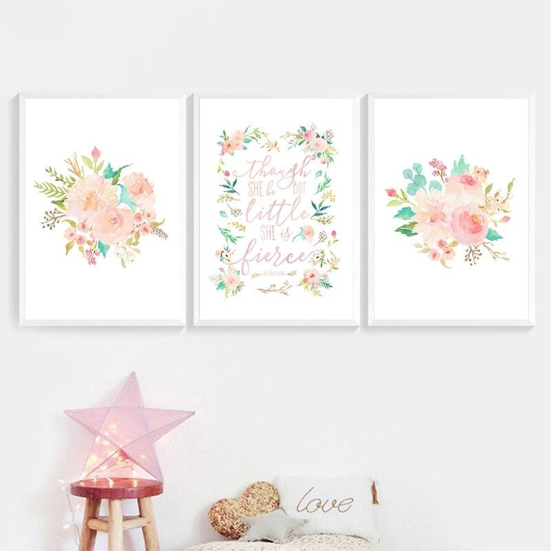 Floral Blush Girl decoración para dormitorio infantil impresiones flor Rosa obra de arte con acuarela lienzo pintura nórdica póster bebé niñas habitación Arte de la pared Decoración