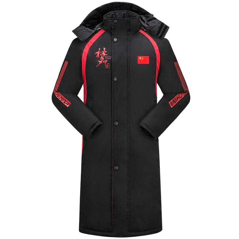 Abrigo deportivo para equipo nacional, abrigo largo de invierno para hombre, entrenamiento de fútbol de ensueño chino, Abrigo acolchado de algodón, entrenamiento de invierno para pista y campo