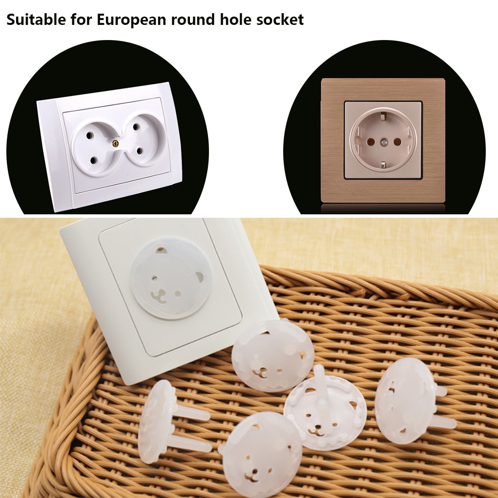 10pcs Baby Safety Kids Electric Socket Outlet Plug Protection Security Two Phase Safe Lock Cover ABS Child Sockets Cover Plugs