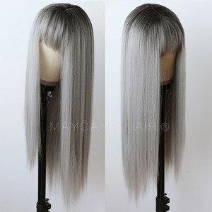 Maycaur Ombre серые длинные прямые парики для женщин Черные Серые синтетические волосы парики с челкой