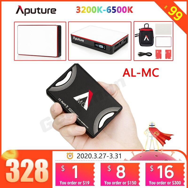 Luz LED portátil en stock Aputure AL-MC con HSI/CCT/FX 3200K-6500K iluminación de fotografía AL MC iluminación de Video mini luz RGB